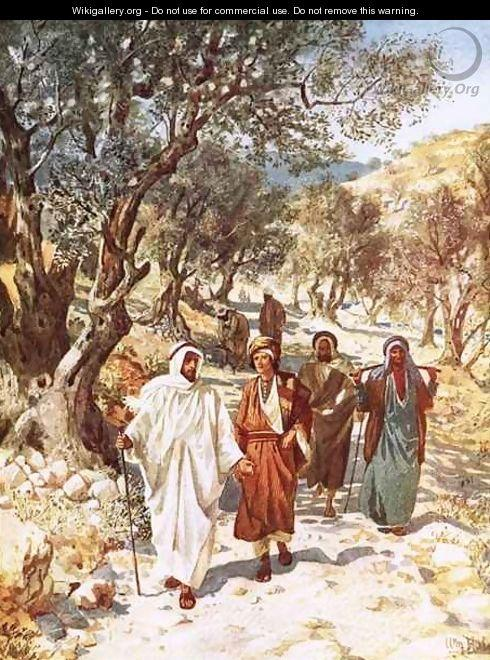 Jesus and his disciples travelling into Galilee