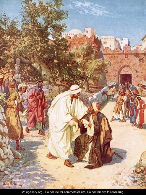 Jesus healing a leper