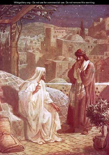 Jesus in conversation with Nicodemus