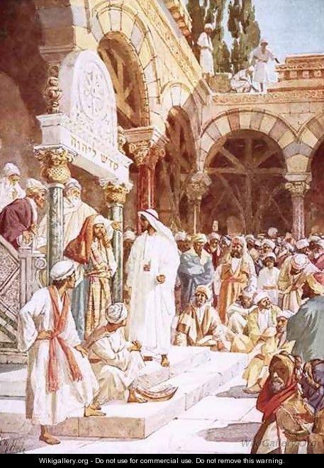Jesus preaching in the Temple