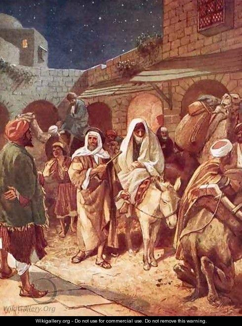 Joseph and Mary arrive at Bethlehem but find there is no room for them at the inn