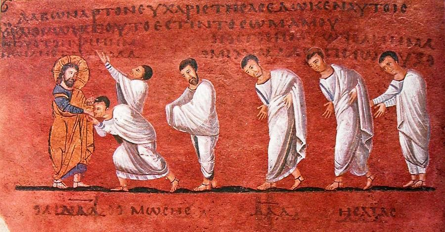 Rossano Gospels - procession of the Apostles (left)