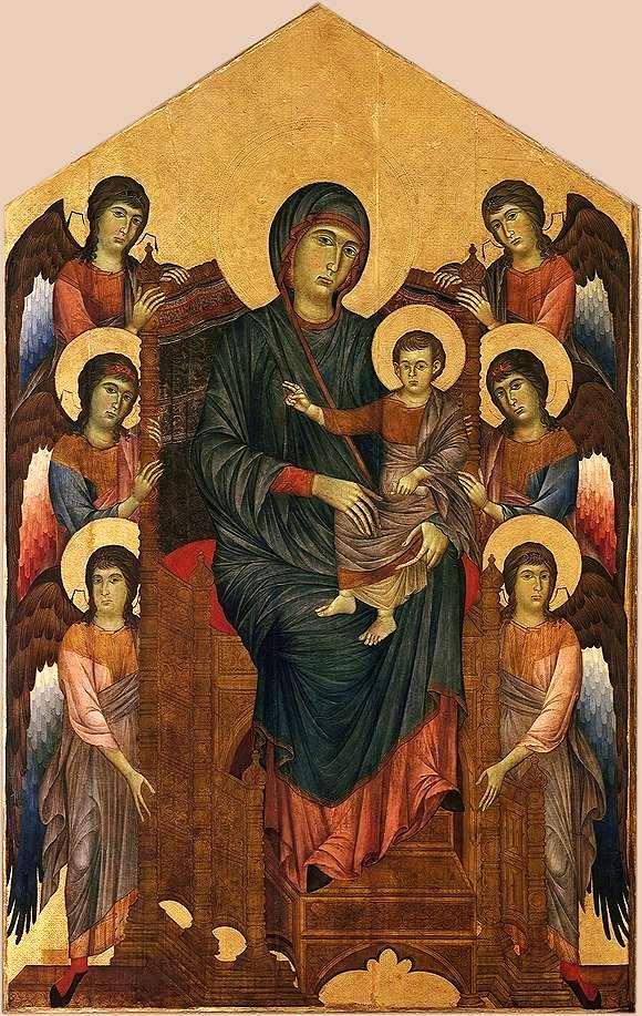 Cenni di Pepo, dit Cimabue - La Vierge et l'Enfant en majesté entourés de six anges, 1270